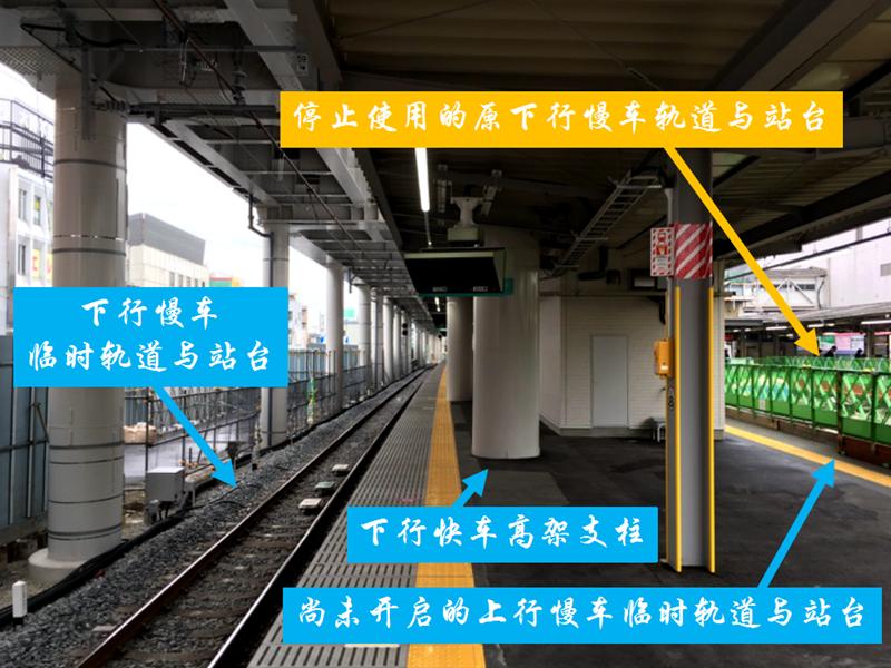 即将启用前的下行慢车临时轨道与部分位于已经建好的下行快车高架下的临时站台