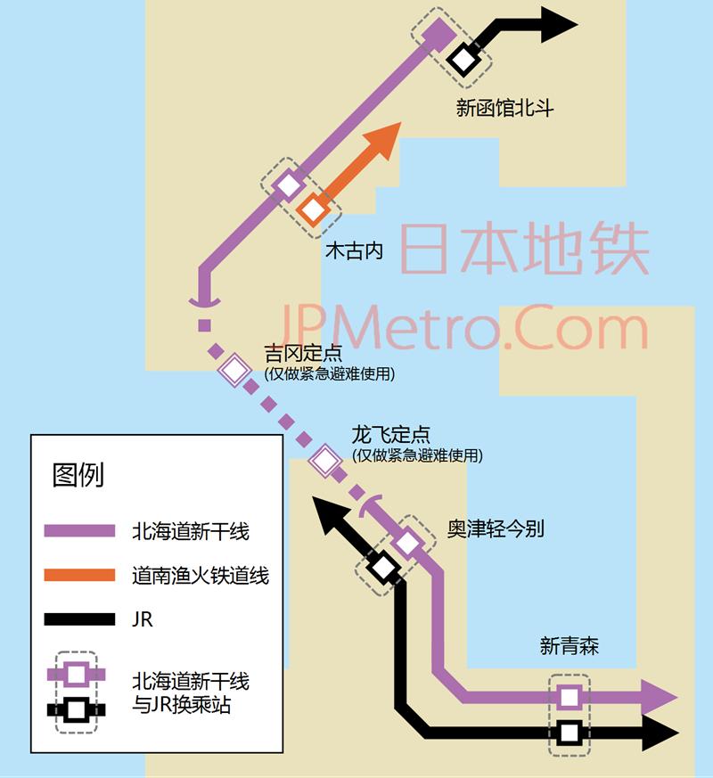 北海道新干线线路图