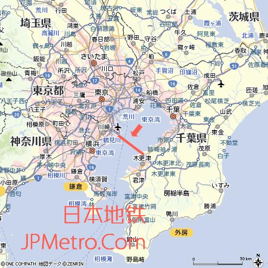 东京湾跨海高速大致区位