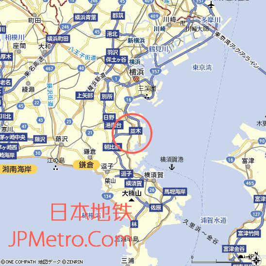金泽海岸线在日本横滨的大致区位