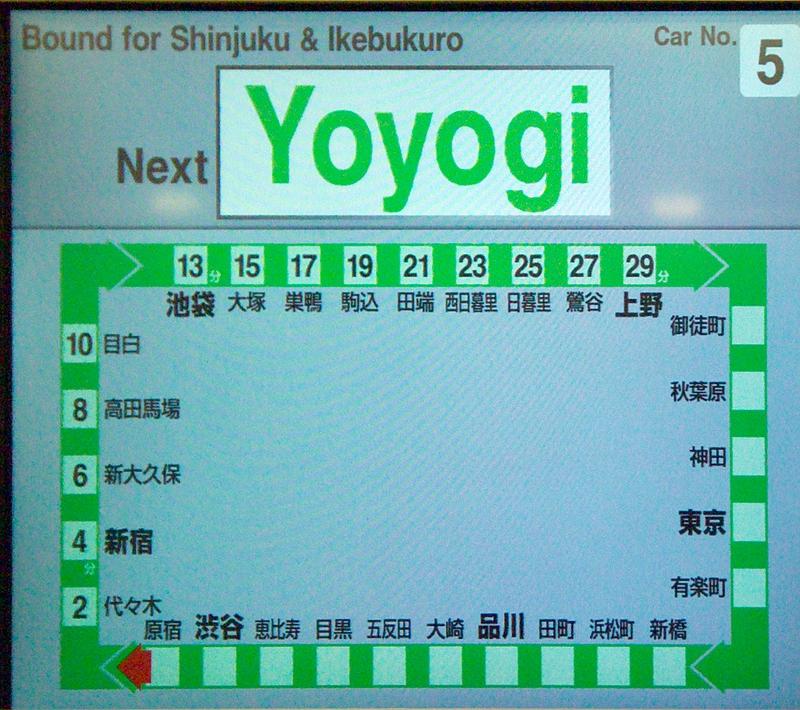 山手线E231系500番台内的电子信息显示屏