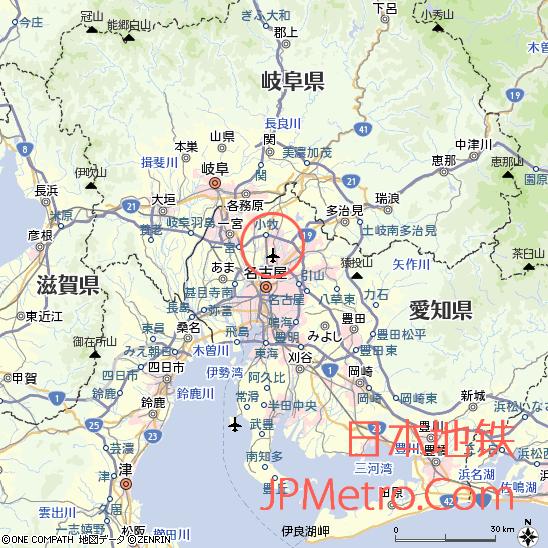 小牧线&上饭田线在日本名古屋大致区位