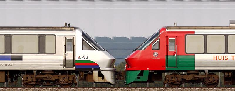 通过车头重联在一起的鸥号(左)与豪斯登堡号列车(左)