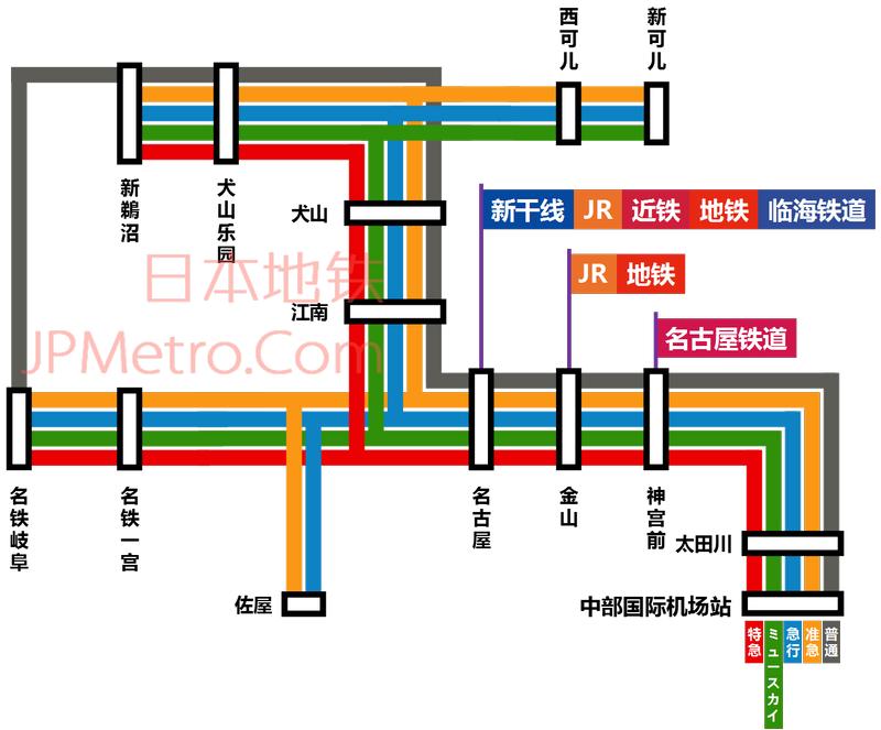 中部国际机场轨道交通线路图