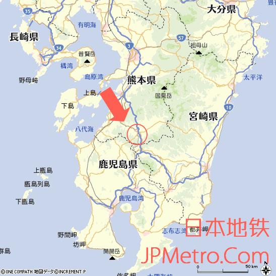 大畑站、矢岳站在九州大致区位