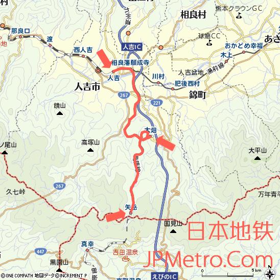 JR九州肥萨线(人吉至矢岳区间)大致走向