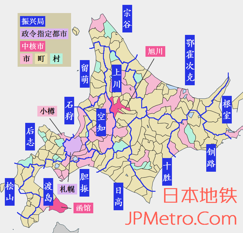 日本北海道行政区划简图