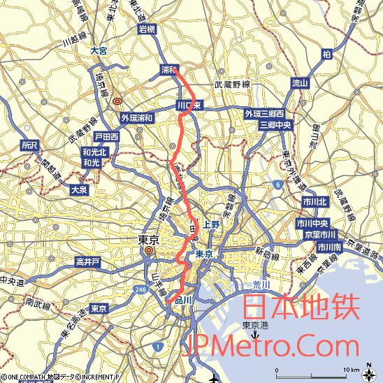 东京地铁南北线与埼玉高速铁道大致走向