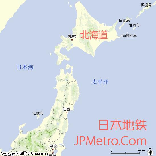 北海道在日本大致区位