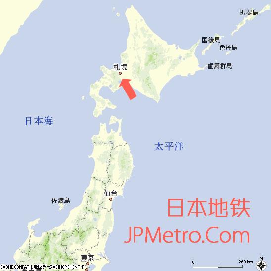 札幌在日本大致区位