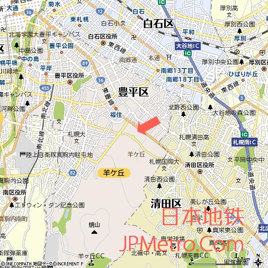 札幌穹顶体育场在札幌市的大致区位