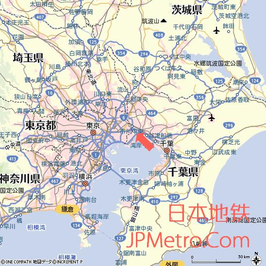 妙典托儿所在千叶县大致区位