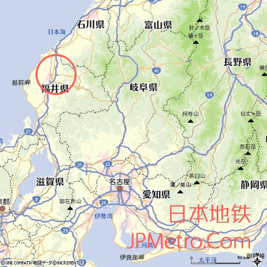 越前铁道在福井县大致区位