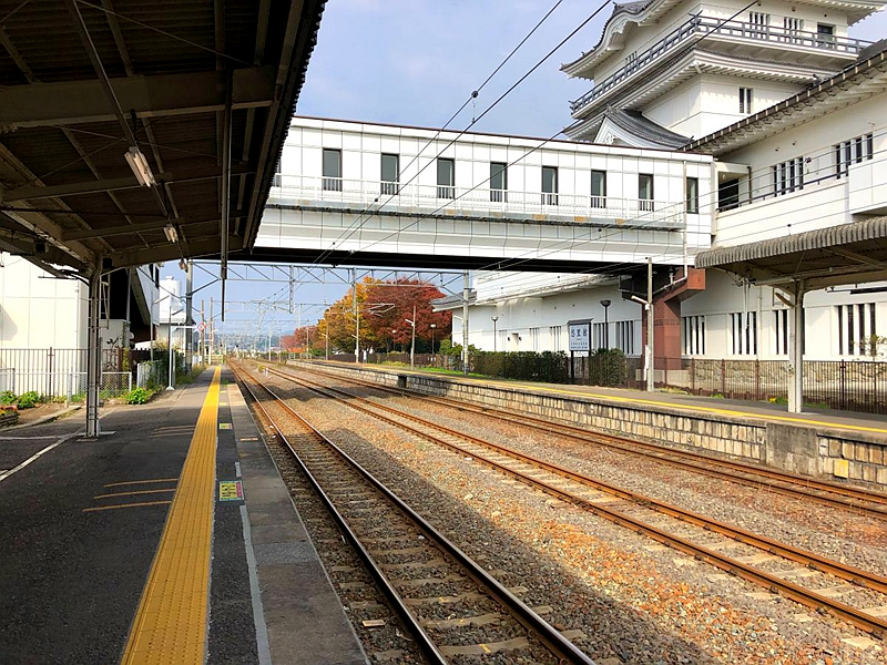 从东南侧的1号站台看亘理站中间的两股轨道以及对面的2号站台