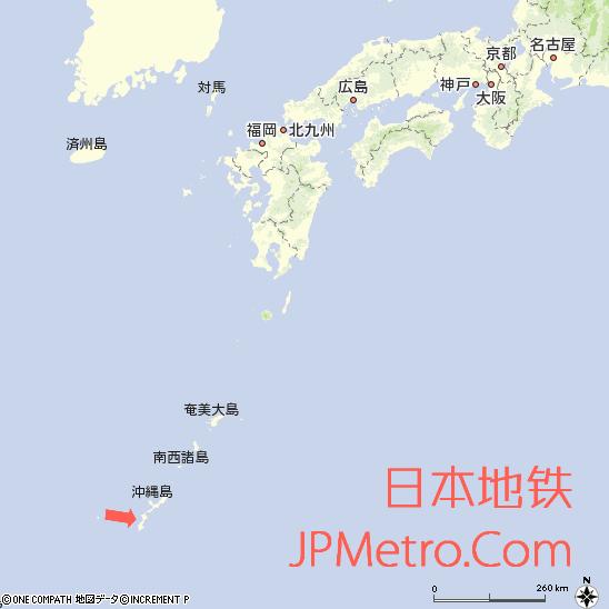 那霸机场与冲绳岛在日本的区位