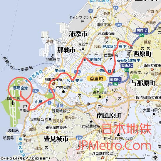 那霸机场周边地图以及冲绳单轨大致走向