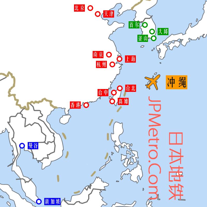 冲绳那霸机场通航都市地图