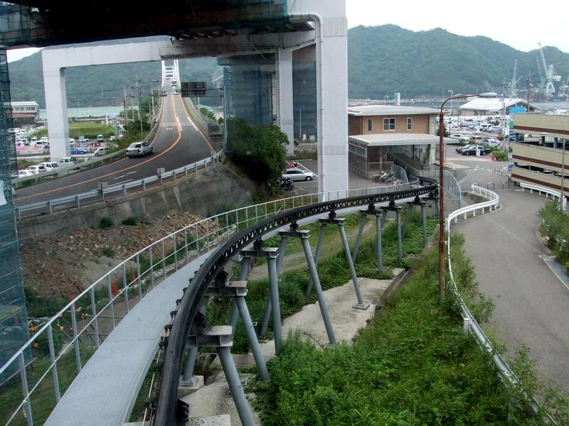 从运行中的斯洛皮单轨列车回看位于地面的单轨车站以及轨道