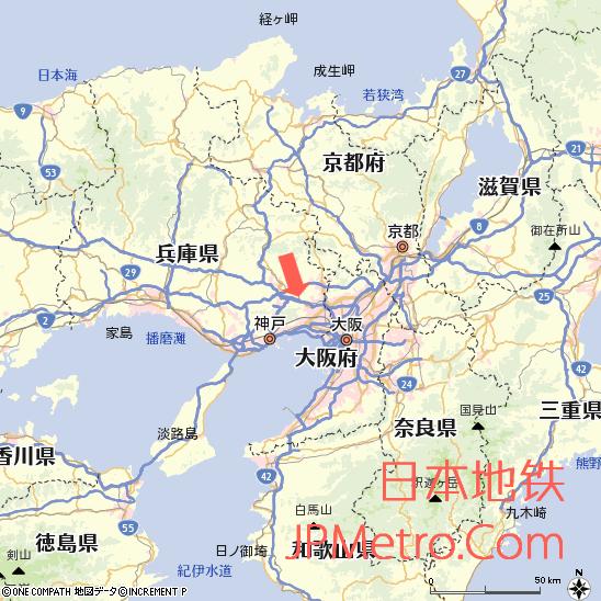 西宫名盐车站在兵库县大致区位