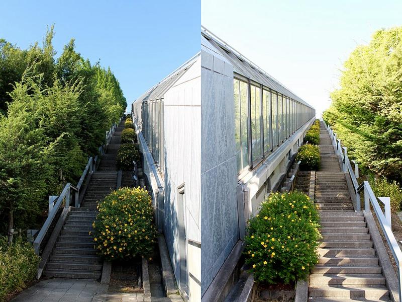 西宫名盐新城斜行电梯两侧的步梯