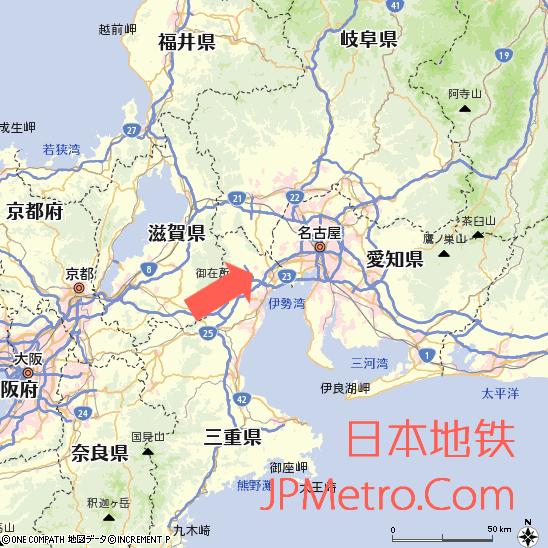 三岐铁道北势线在三重县大致区位
