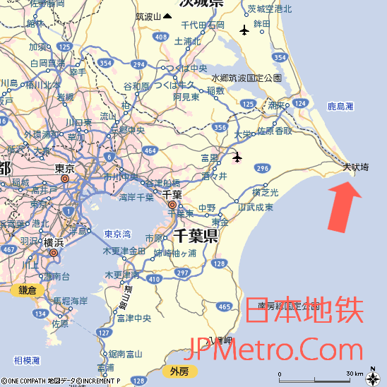 铫子电铁在日本千叶县的大致区位