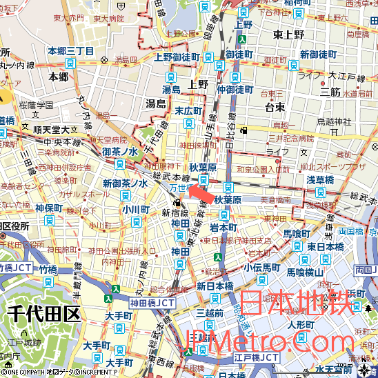 原万世桥站在东京的大致区位