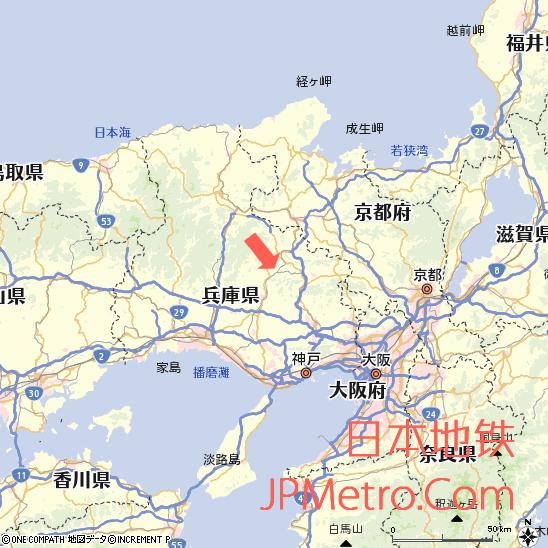 久下村站在兵库县的大致区位