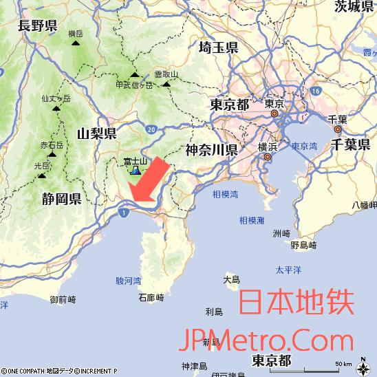 岳南电车在日本静冈县的大致区位