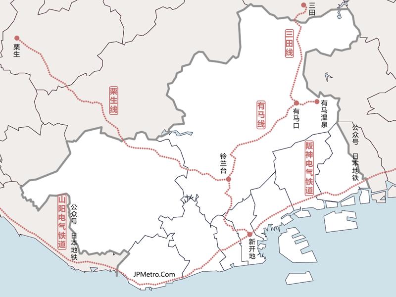 往来神户市北部郊区与中心城区铁道简图