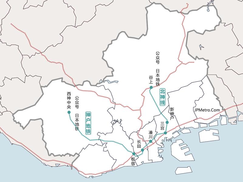 北神线与神户地铁直通铁道线网简图
