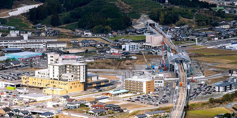 正在建设中的武雄温泉至长崎区间中的嬉野温泉站附近